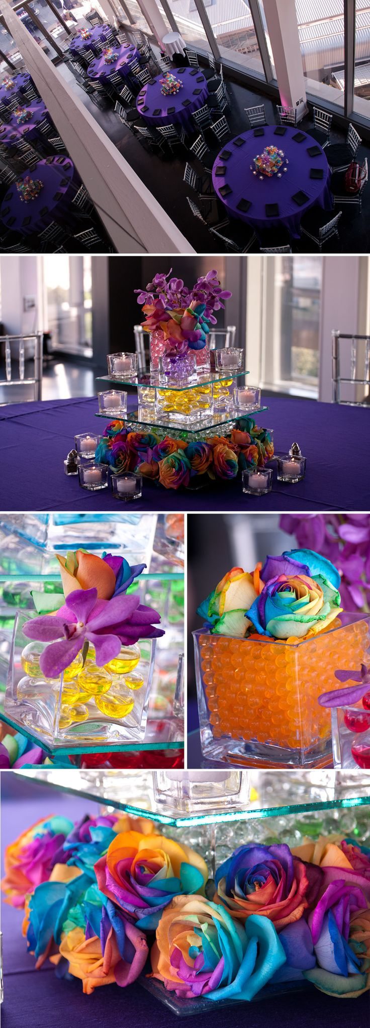 cool tables and center pieces, definitely different colors