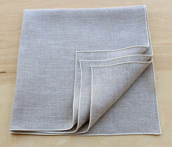 Set of four 100% linen dinner napkins in a gorgeous stone natural color with warm undertones (NOT gray) with contrasting rolled hem trim in cream.  To view more dinner size napkins in our collection go here. https://www.etsy.com/shop/KSTYLEDESIGN?section_id=17127227&ref=shopsection_leftnav_1  Whether you are planning a party, special event or looking for the perfect shower or wedding gift or just trying to find some table linens that work with your current se...