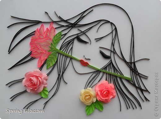 The painting, mural, drawing Bumagoplastika, Quilling: Blossoming youth paper, paper strips, Board on March 8.  Photo 1