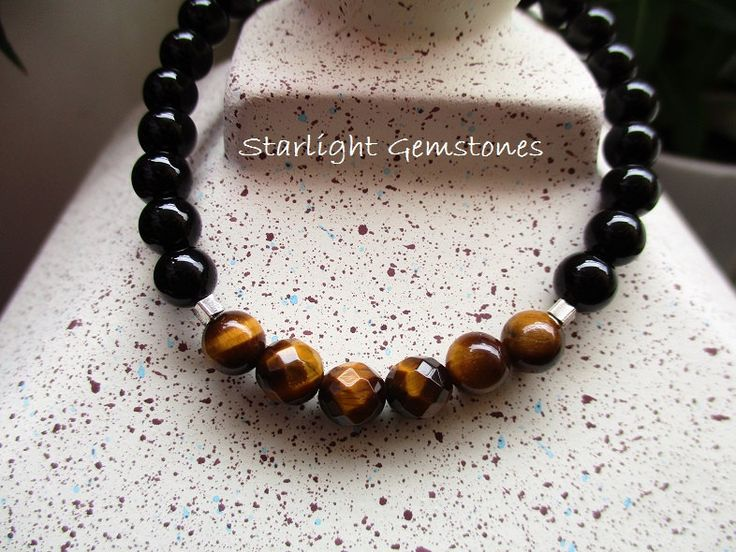Tigers Eye & Obsidian Gemstone Beaded Bracelet with Hill Tribe Sterling Silver. by StarlightGemstones on Etsy