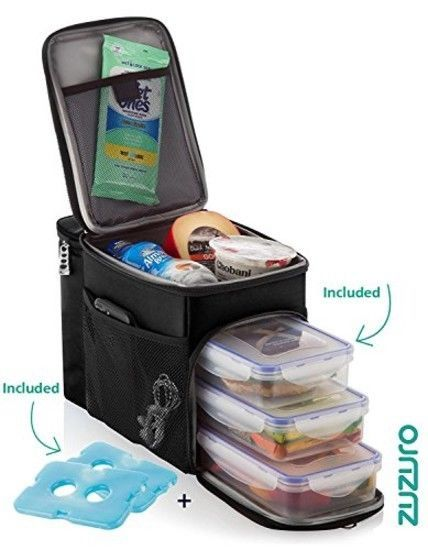 Zuzuro Insulated Lunch Box Cooler Bag W 3 Compartment Heavy Duty Strong Zippers Built