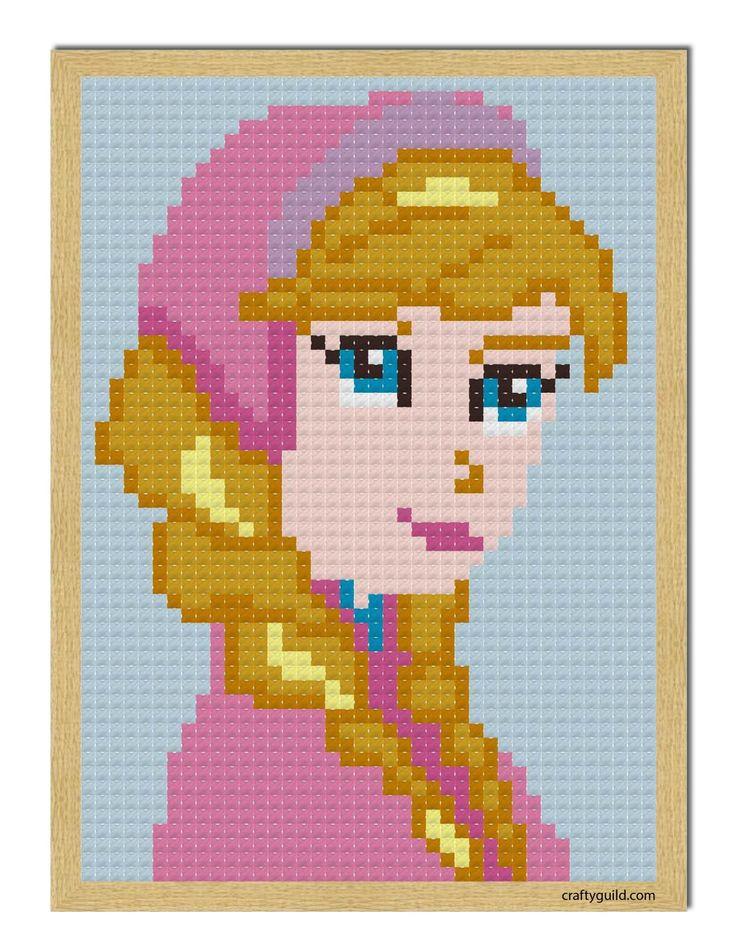 princess anna mini cross stitch pattern 1-01