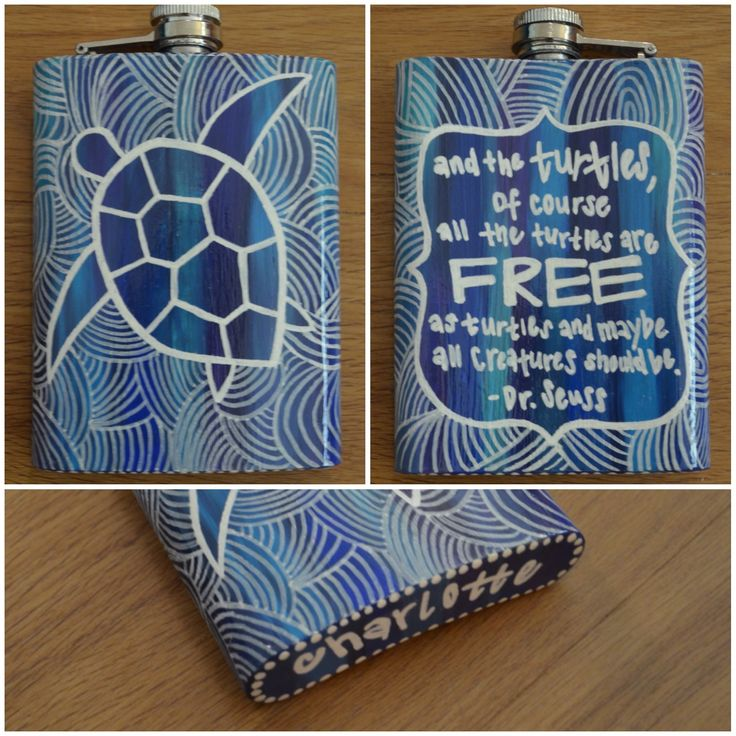Turtle flask for a 21st birthday present ~~~ Sanded, primed, painted base colors, and used white paint pen for drawing on top. Sealed with polycrylic and a thin layer of spray polyurethane.