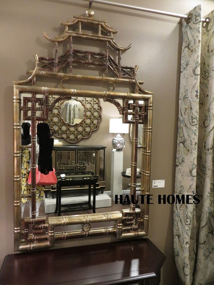 Gold Foyer Mirror : Horchow large quot asian chippendale pagoda bamboo greek