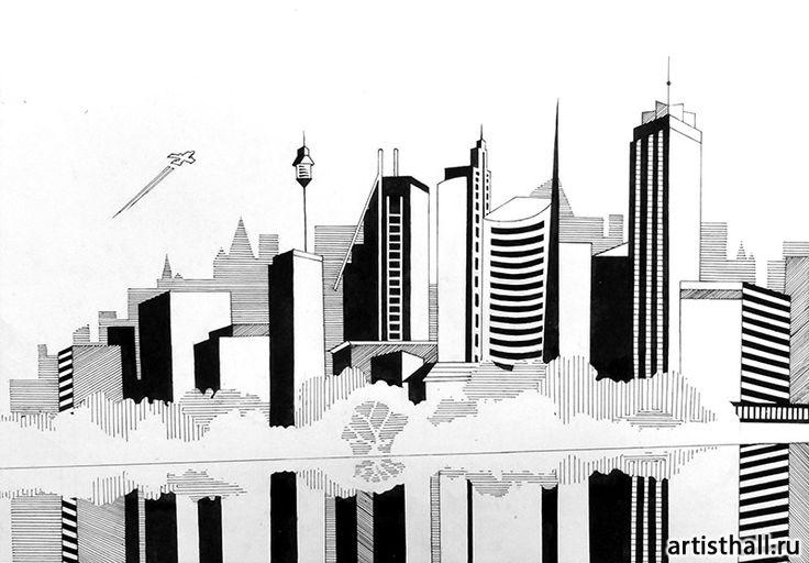 Варианты выполнения задания Мегаполис - 3 #art #design #draw #композиция #графика #мегаполис #artworkshop #artisthall