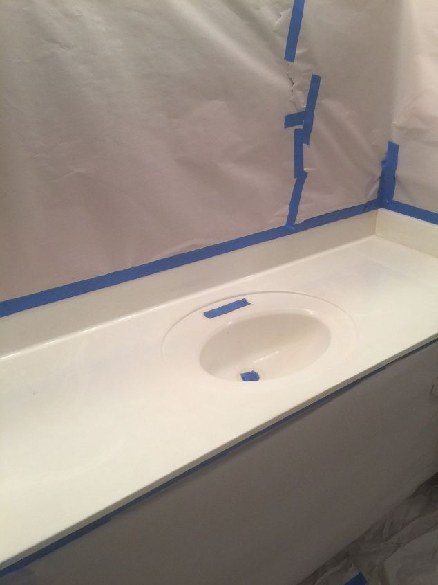 my little bathroom makeover for 50, bathroom ideas After sanding surface, Spray paint the counter top and seal with polyurethane (2-3 coats)