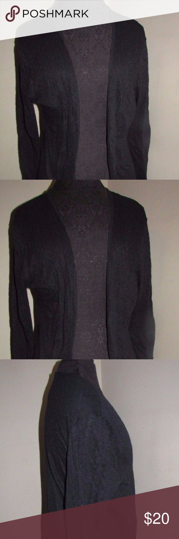 "new Serena Williams black  open front sweater med Is a black Serena Williams open front cardigan sweater. Has long sleeves, is light weight, is soft to the touch,  has great stretch, and is a thinner knit style.  Is 85% cotton 15% poly, perfect for cooler weather! Retail cost was $45.  Is a size medium, measures 21"" from arm pit to arm pit, 37 from the shoulder down in the front, and 21"" from the shoulder seam to the cuff.  Measurements are un-stretched, tag suggest hand wash cold/inside…"