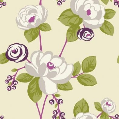 Santa Rose (97271) - Holden Decor Wallpapers - A funky stylised floral in plum…