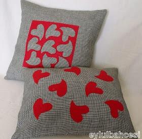 Ƹ̵̡Ӝ̵̨̄Ʒ eylulbahcesi hand craft Ƹ̵̡Ӝ̵̨̄Ʒ: Keçe Oyma, Kalpli Yastık Takımı