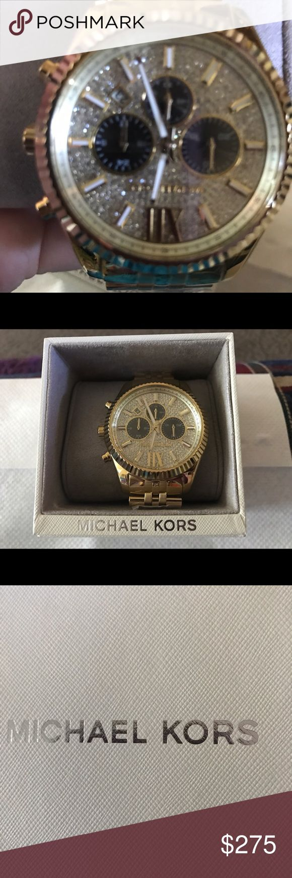 MICHAEL KORS NWT MENS WATCH GOLD Stunning but manly Michael Kors gold accented watch, new in the box, retail 350.00, just amazing. Michael Kors Accessories Watches