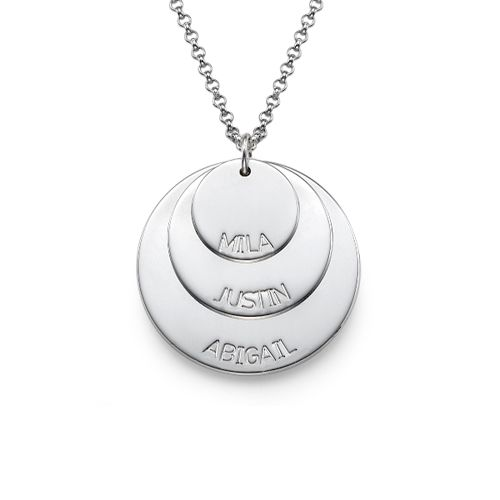 Silver Mom Necklace with Kids Names