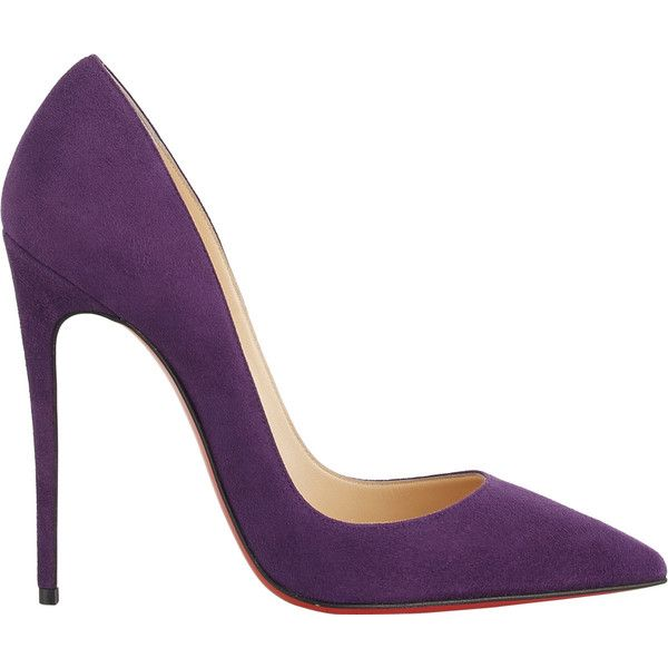 Christian Louboutin So Kate Pumps (€620) ❤ liked on Polyvore featuring shoes, pumps, heels, high heels, christian louboutin, purple, purple high heel pumps, heels  pumps, red sole shoes and purple pumps