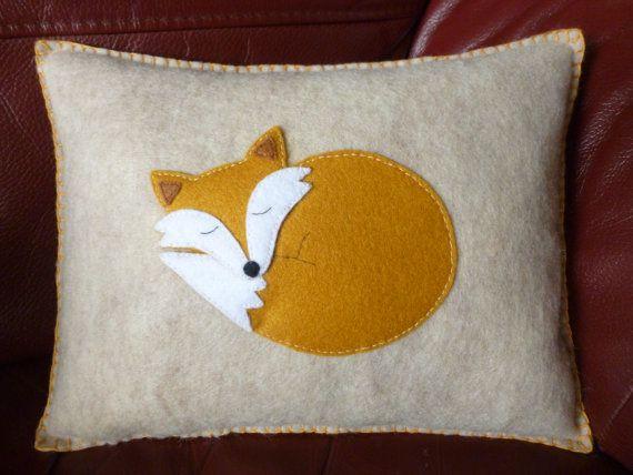 "Fox Mini Pillow - Sandstone Felt with Gold Felt Applique Fox Mini Pillow - Handmade - ""Florence"" the Sleepy Fox"