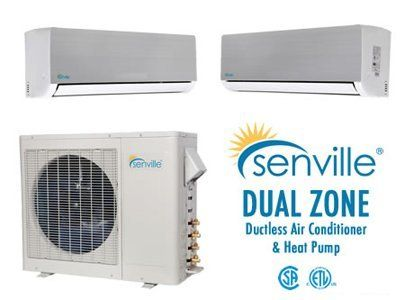 Senville 18000 BTU Dual Zone Ductless Air Conditioner and Heat Pump 9k + 9k or 9k + 12k or 12k + 12k by Senville. $2099.99. Senville 18000 BTU Dual Zone Ductless Air Conditioner and Heat Pump The 2012 line of Senville Split Air Conditioners are products of creative design and careful manufacturing. These air conditioners offer an efficient and quiet solution for your cooling and heating needs. Our ductless split air conditioners provide a smart alternative for older wi...
