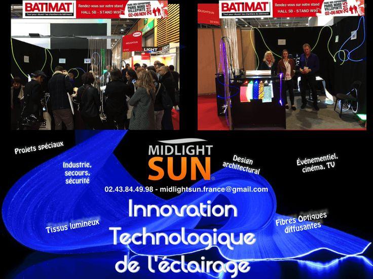 MIDLIGHTSUN-BATIMAT-Innovation de l'éclairage : fibre optique diffusante, tissu lumineux