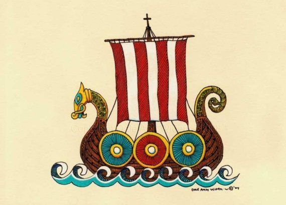 ACEO Viking Ship Art Print Nordic Scandinavian Dragon Ship  DeLaRenaissance @ etsy.com