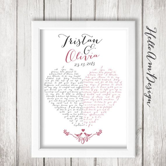 1 Year Anniversary Gifts For Husband Paper : 1st anniversary gift wedding vows 1st paper anniversary wedding gift ...