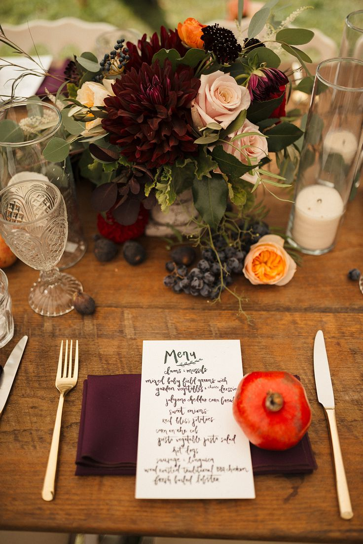 fall wedding place settings - photo by Bella Wang Photography http://ruffledblog.com/romantic-countryside-new-hampshire-wedding