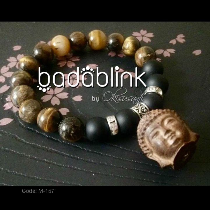 Brown stone, black matte onyx, and metal bracelets with wooden Buddha head    Material: natural stones, wood and metal     Length: 18-22 cm/7-9 inches    Inquiries: facebook.com/badablink    Line: badablink    Email: hello@thebadablink.com