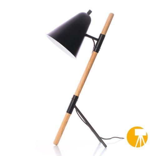 Design-Tischleuchte-Tischlampe-Leselampe-Leseleuchte-Holz-Buero-Leuchte-Schwarz