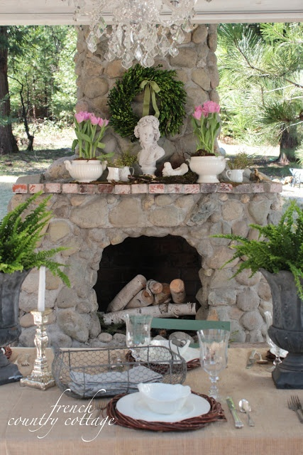 FRENCH COUNTRY COTTAGE: Outdoor Spring Mantel #spring #porch
