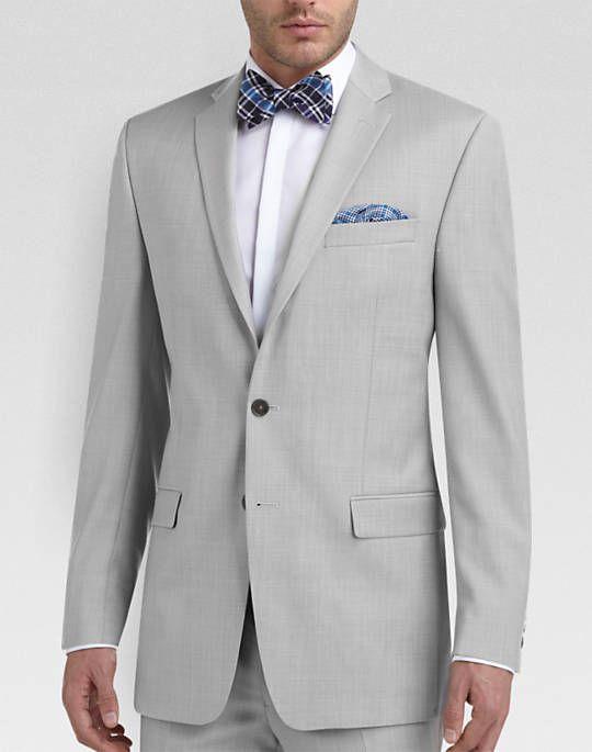 Calvin Klein Light Gray Sharkskin Slim Fit Suit - Slim Fit | Men's Wearhouse