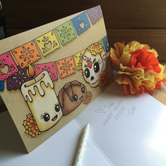 These Day of the Dead greeting cards feature original art by Ruth Barrera of The Happy Skull Studio. Cards measure 5 1/2 x 7 3/4 and are