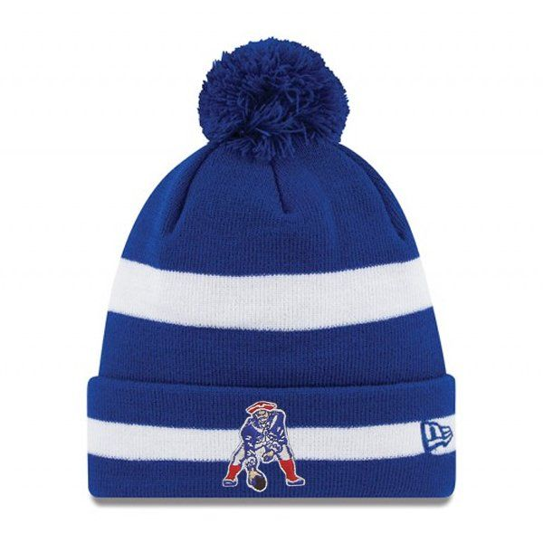 ... uk new era throwback striped pom knit hat royal patriots throwback  pinterest patriots new england patriots 26fd155da