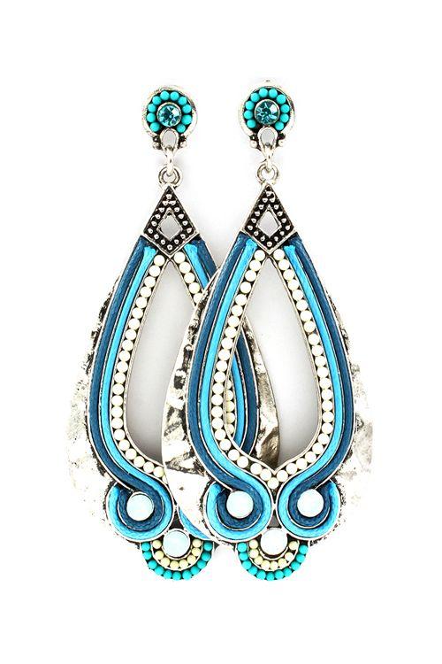 Turquoise Boho Teardrop Earrings