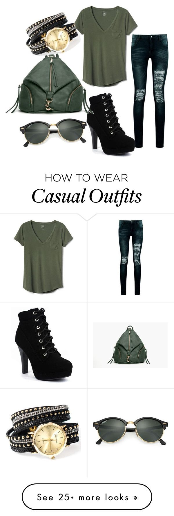 """Slytherin Casual Outfit"" by elenacampedelli on Polyvore featuring Gap, Boohoo and Ray-Ban"