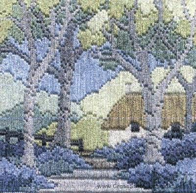 Bluebell Cottage Silken Long Stitch Kit from Derwentwater Designs and designed by Rose Swalwell.