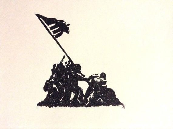 Raising the flag on iwo jima hand drawn in marker amazing for Iwo jima tattoo