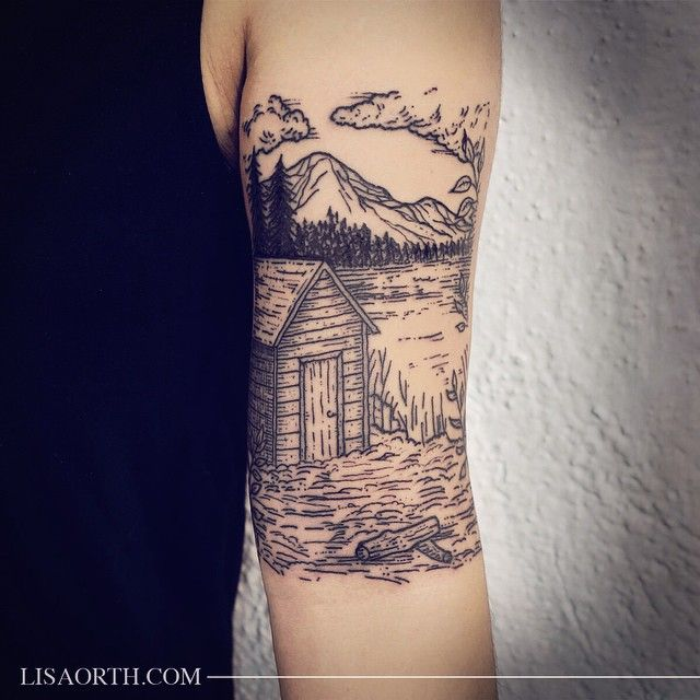 Thoreau inspired cabin for Amanda, done at Incognito Tattoo Los Angeles. Artwork and photo © 2015 Lisa Orth.