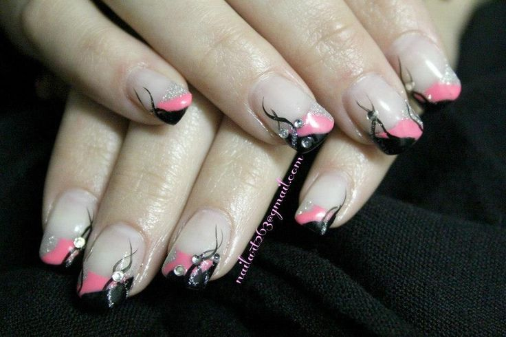 Pink, black, silver gel nails: Nails 1, Nails Art, Fabulous Nails, Black Pink Silver Nails, Gel Nails, Cuute Nails, Nails 3, Cuut Nails, Nails Designs