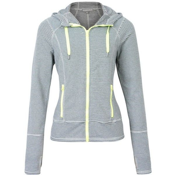 Zip Front Striped Hoodie Warehouse One ($40) ❤ liked on Polyvore featuring tops, hoodies, long sleeve hooded sweatshirt, hoodie top, striped hoodies, zip front hoodies and stripe hoodie
