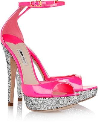 Miu Miu Glitter-finish patent-leather sandals - ShopStyle Platforms