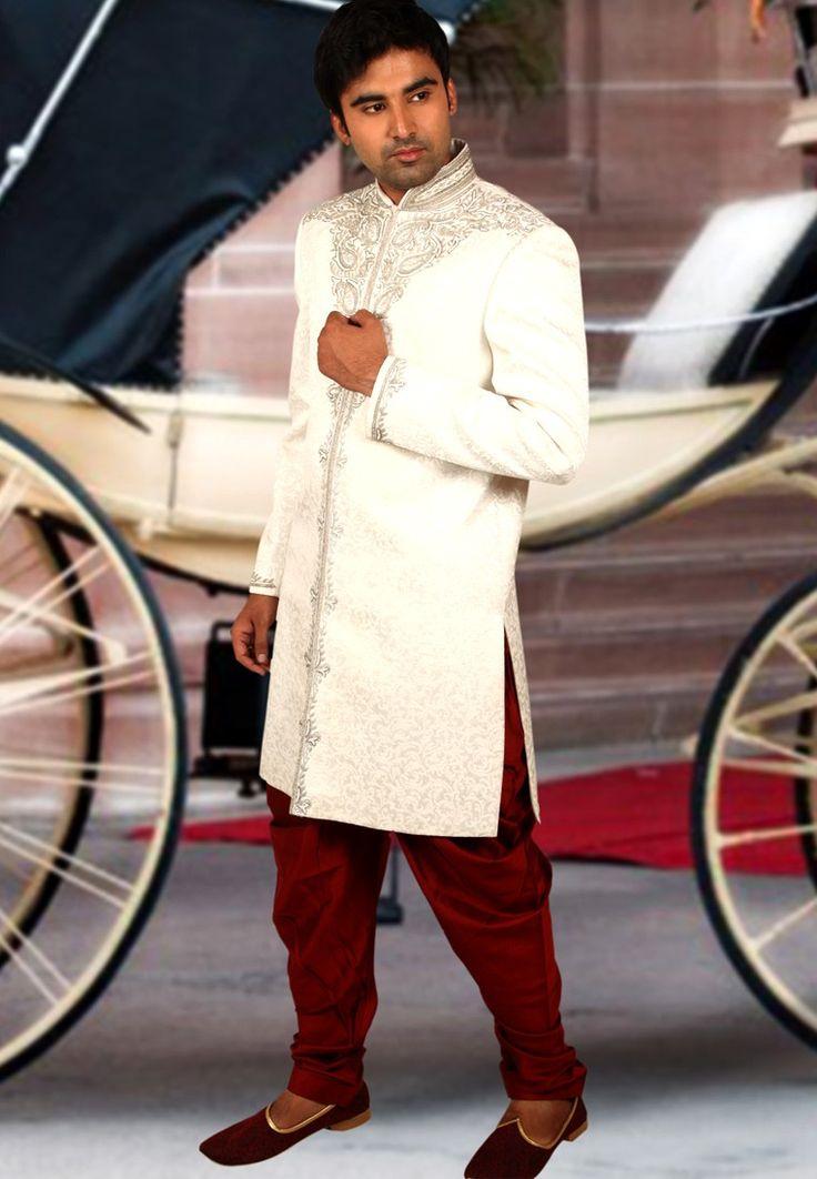 Мужской шервани White Colored Silk Sherwani