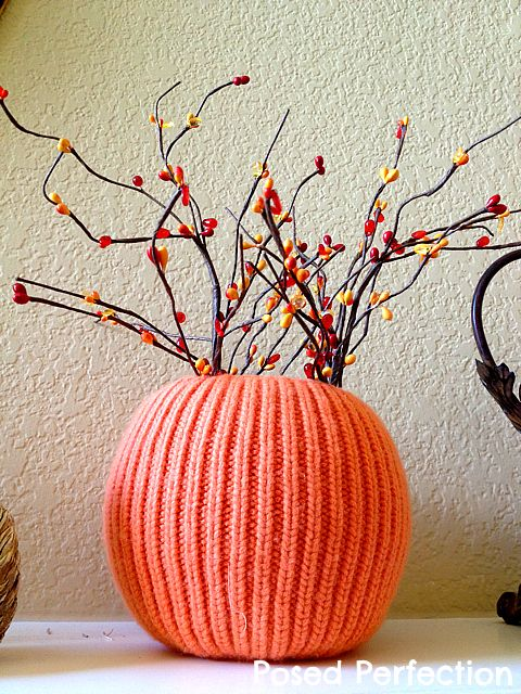 Posed Perfection: Orange Sweater Pumpkin Vase ~ Yard Sale Up-Cycle