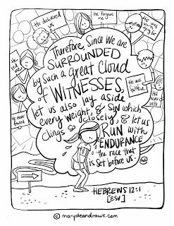 Surrounded by witnesses   a Hebrews 12:1 Bible verse coloring page