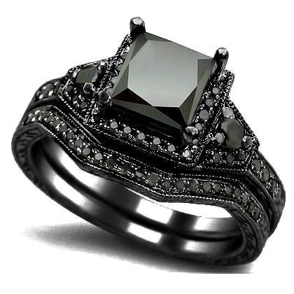 """Black Gold Engagement Ring"". Princess cut black diamond set in ""black gold"" (black rhodium plating over 14k white gold)."