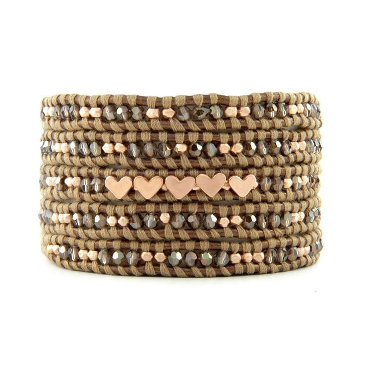 Chan Luu  Bronze Shade Crystal Wrap Braclelet with Rose Gold Hearts