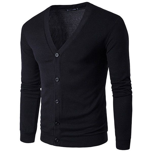 s Button Up Knit Slim Long Sleeve Solid Color Casual Cardigan (69 BRL) ❤ liked on Polyvore featuring men's fashion, men's clothing, men's sweaters, mens v neck sweater, mens thick sweaters, mens v neck cardigan sweater, mens button down sweaters and mens slim fit v neck sweater