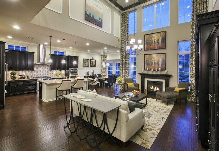 Beautiful open living room attached to the kitchen dining for Family dining room ideas