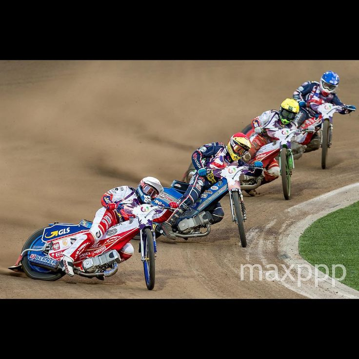 Bartosz Zmarzlik (white) and Maciej Janowski (yellow) of Poland and Craig Cook (red) and Robert Lambert (blue) of Great Britain in action during the Speedway Team Men competition at the World Games of the non-Olympic sports in Wroclaw, Poland, 29 July 2017.  EPA/MACIEJ KULCZYNSKI (MaxPPP #photo #photos #pic #pics #picture #pictures #art #beautiful #instagood #picoftheday #photooftheday #color #exposure #composition #focus #capture #moment #sport #photojournalism #photojournalisme #maxppp…