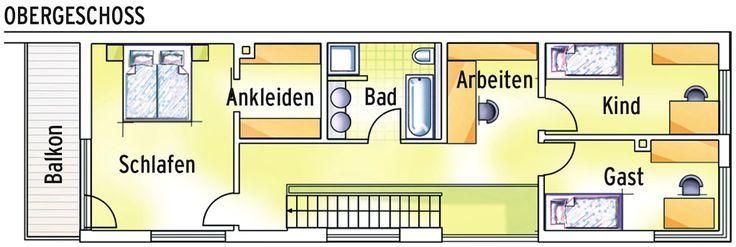Grundriss Obergeschoss: Das Haus ist nur fünfeinhalb Meter schmal, hat insgesamt 167 Quadratmeter Wohnfläche.