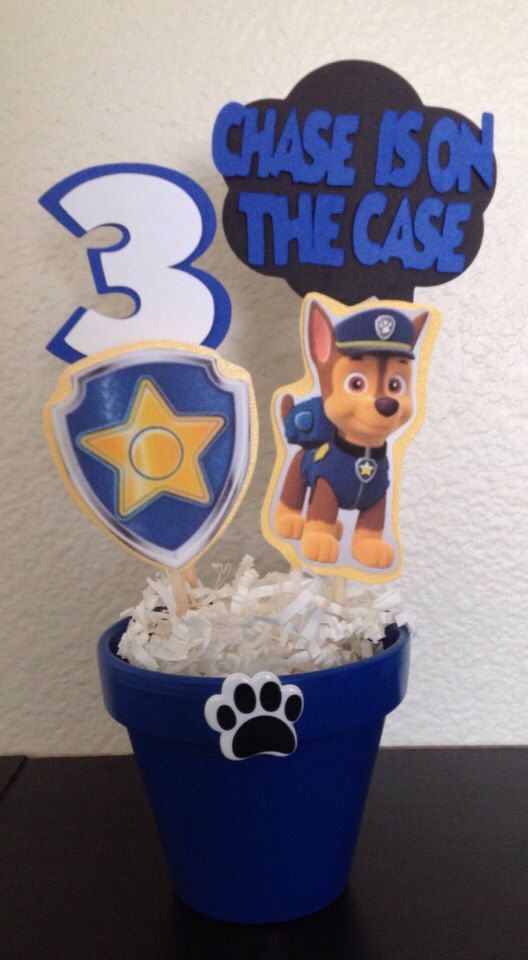 Paw Patrol Chase INSPIRED Centerpiece by MadeForYouByMonica on Etsy https://www.etsy.com/listing/185033481/paw-patrol-chase-inspired-centerpiece