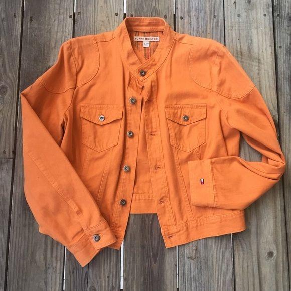 Tommy Hilfiger Jackets & Coats - Tommy Hilfiger Bright Orange Denim Jacket