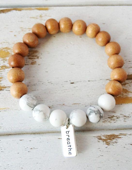 I Am Calm Bracelet, White Howlite & Rosewood Bracelet, Breathe Charm, Sterling Silver, Mala Bracelet, Yoga Bracelet, Intention Jewelry, Mala Beads