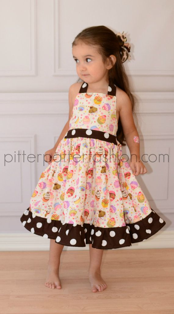 Boutique girls cupcake halter twirl dress by pitterpatterfashion