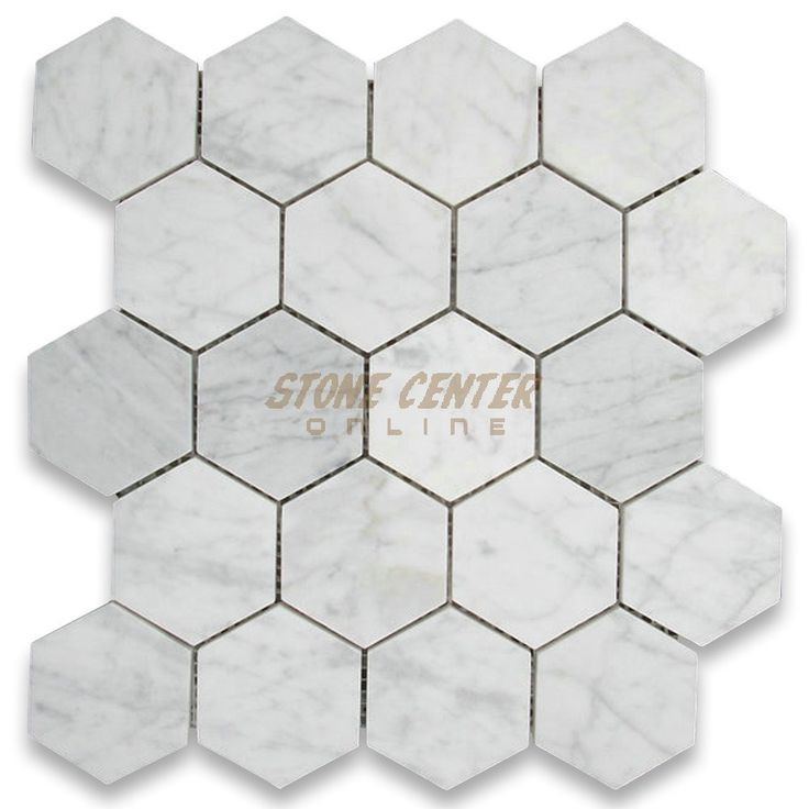 Carrara White 3 Hexagon Mosaic Tile Polished 13 Sq Ft Much Less Grout Still Period Look